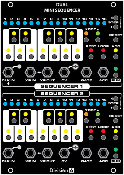 Dual Mini Sequencer Front Panel